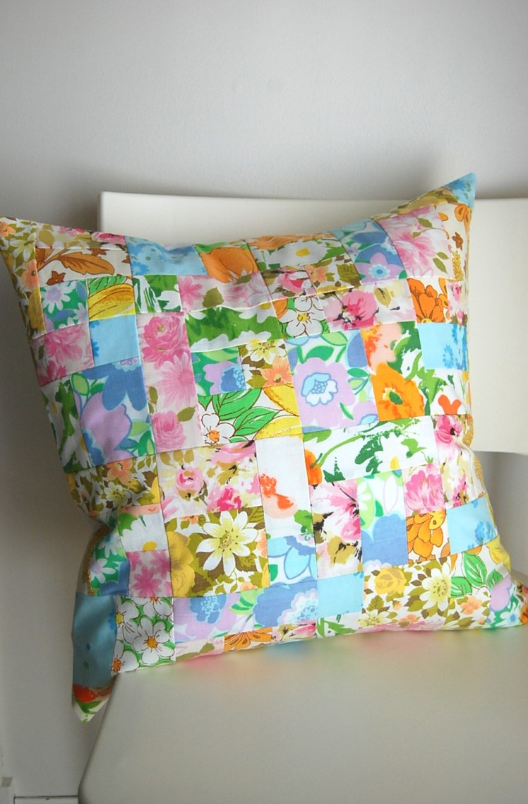 "vintage patchwork 18"" pillow cover"